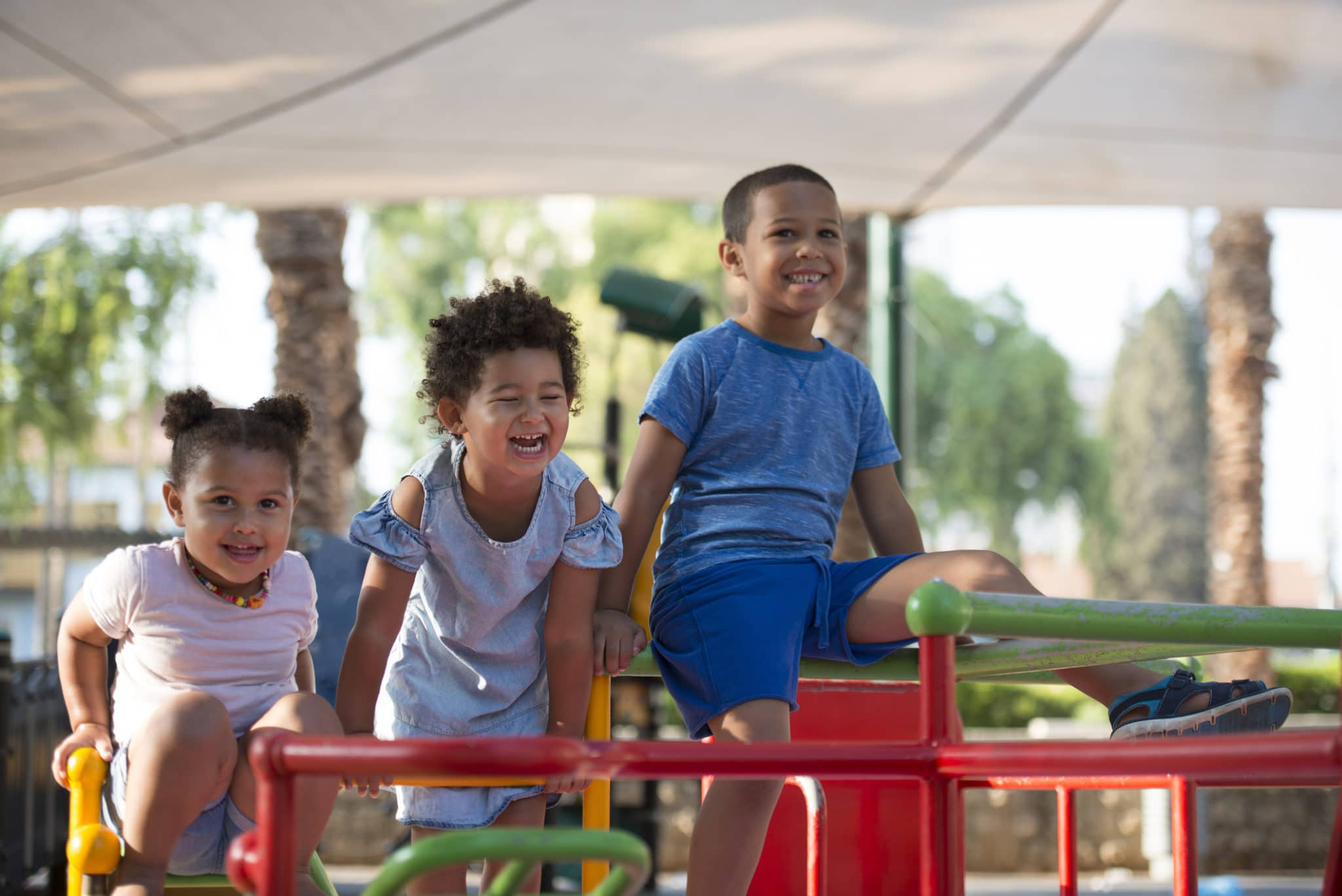 Children Sitting on a Playground in Israel