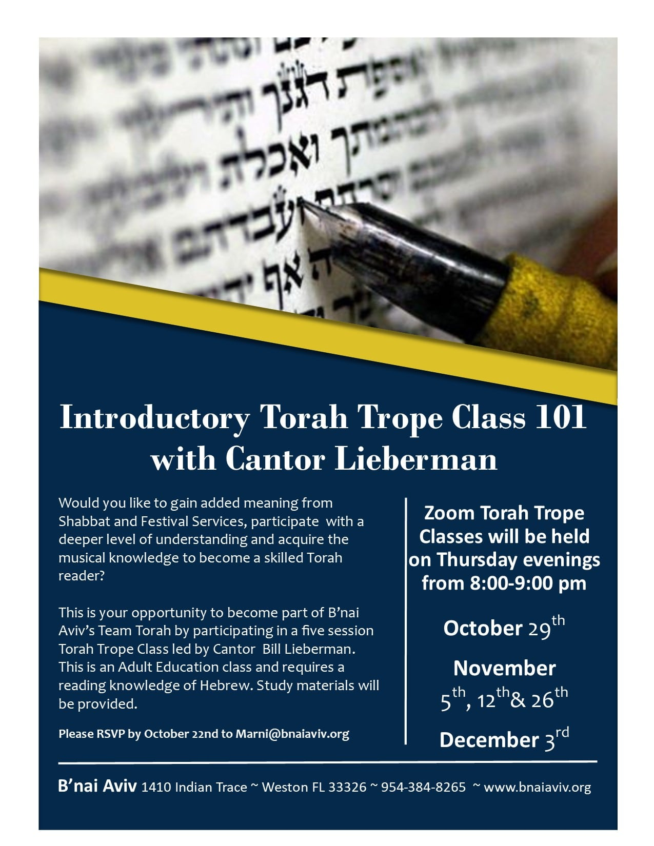 Torah Trope Shabbat And Festival 2020