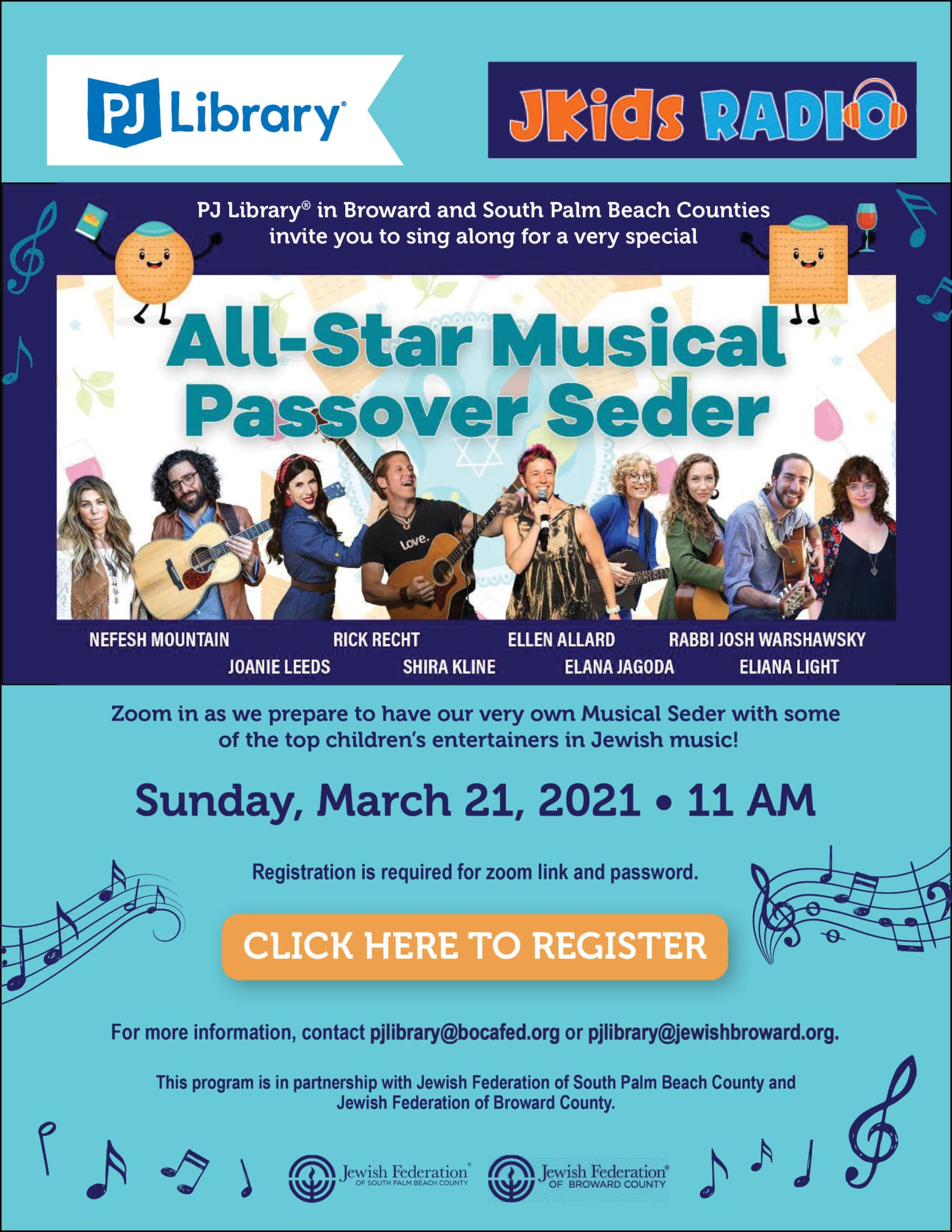 2020 PJ LIBRARY PASSOVER CONCERT FLYER